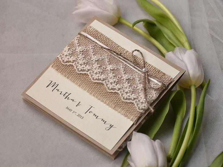 rustikale romantische Hochzeitseinladung mit Spitze   WEDDING INVITATIONS HANDMADE STATIONERY
