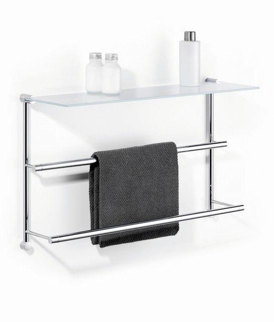 In diesem Bild sehen Sie Giese Server Handtuchhalter Wandmodell B:650xH:400mm mit 1 Glasablage verchromt 30850-02
