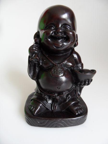 Boeddha beelden van polystone : lachende Boeddha met knapzak