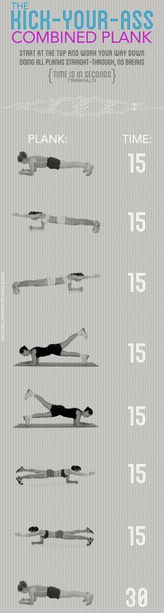 Plank Challenge! i would not finish this but i'd like to try :D you could also build it up three times a week and ultimately get to the end.