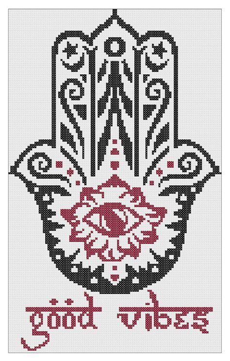 Good Vibes Hamsa Cross Stitch Pattern PDF (Instant Download)