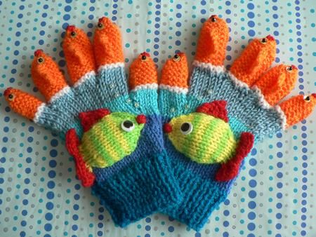 FISH FINGERS designed by Lorna Musk - Children's gloves with a 'Fishy' theme