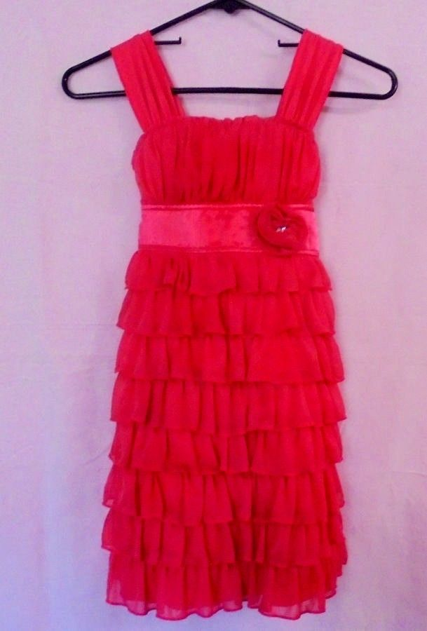 Darling Girls Party Dress Pink Size 7 Lots of Ruffles Perfect for the Holidays #MyMichelle #PartyDress #FormalParty