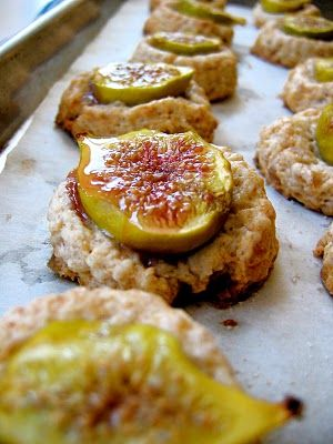 The Bojon Gourmet's Fig and Ginger Scones: Fresh figs perch atop ginger cream scone dough. Delicious!