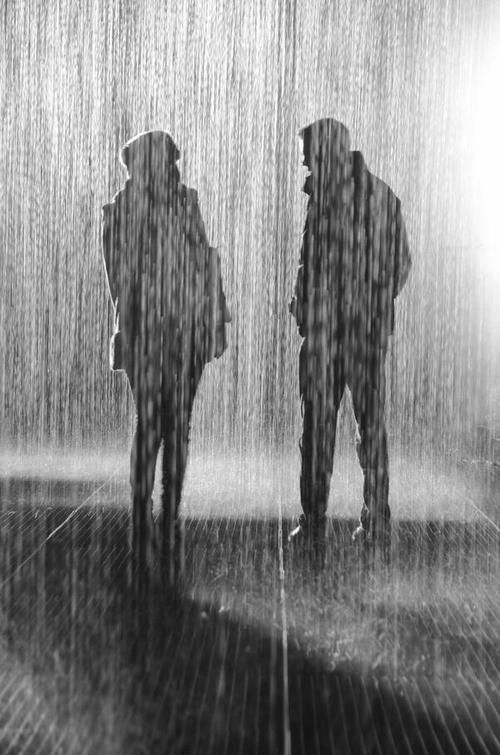 under rain with him love couple rain umbrella cute