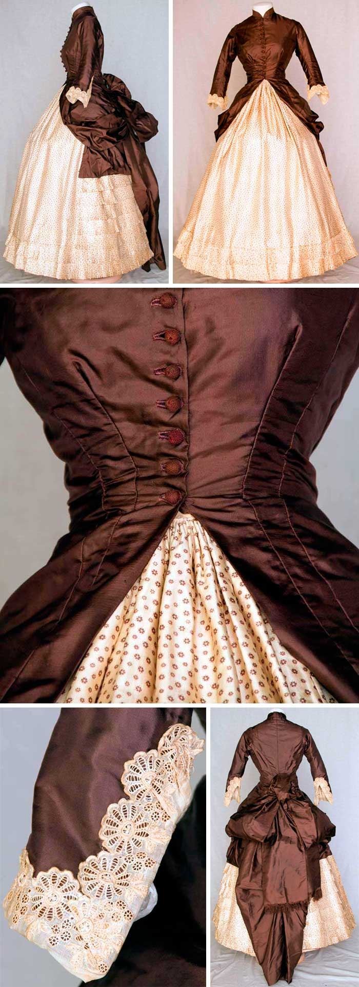 Dress, ca. 1880. Chocolate brown silk polonaise bodice dips at the sides to drape and form back bustle. Ten crochet ball buttons, embroidered lace cuffs, tan cotton lining. Cream silk twill skirt with tiny brown floral print, square insert in back of solid brown and bustle ties. Augusta Auctions