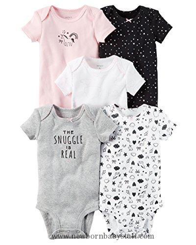 d875373b07a5b Baby Girl Clothes William Carter Girls 5 Pack Short Sleeve Bodysuit  Undershirt Set Unicorn