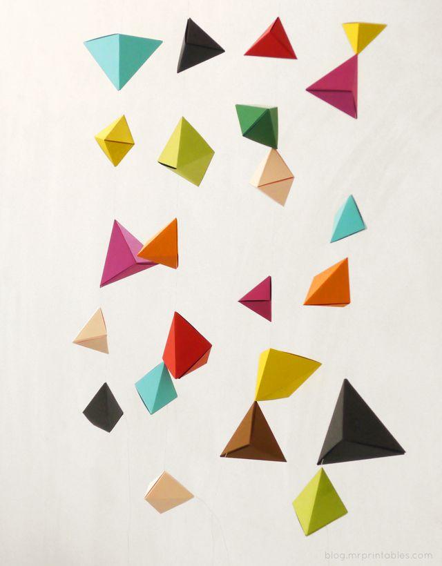DIY. origami. garland. tutorial. Paper. Make. Instructions. Decor. Decorate. Party. Kids. Room. Nursery. Fun. Colorful. Geometric.