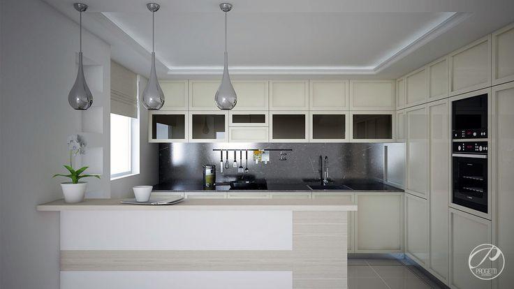 Dom jednorodzinny w Aninie.  Nowoczesna kuchnia z wyspą. Eleganckie designerskie lampy.  Progetti Architektura