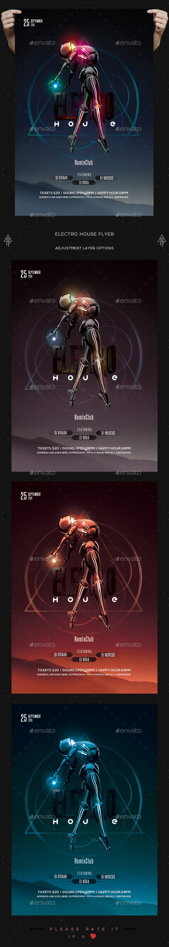 Electro House Flyer — PSD Template #inspiration #grunge #creative • Download ➝ https://graphicriver.net/item/electro-house-flyer/18619288?ref=pxcr