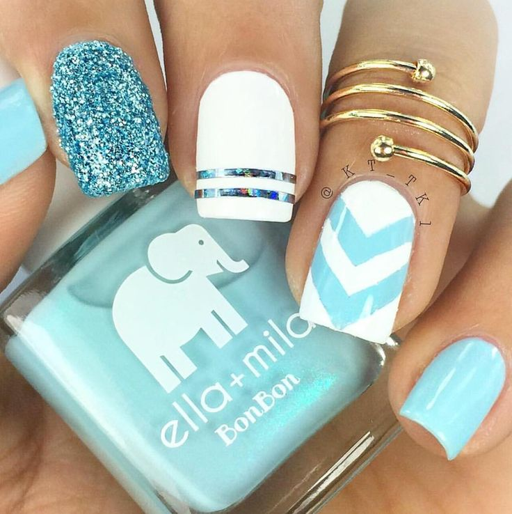 "1,202 Likes, 7 Comments - ella+mila polish (@ellamilapolish) on Instagram: ""{my baby blue} + {pure love} chevron nails.... look at that shimmer! Obsessed @kt_tk1  #ellamila…"""