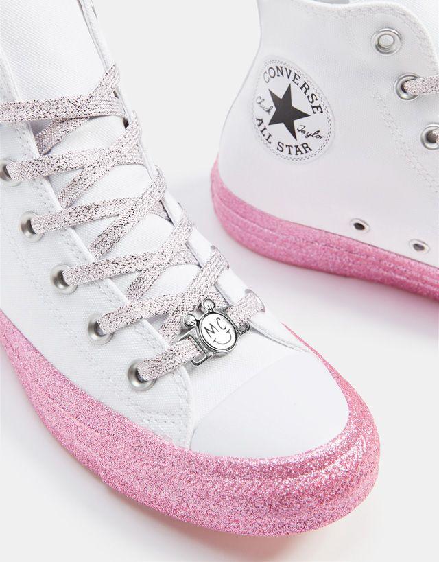 fbfe7afd5059 Converse X Miley Cyrus fabric high-top sneakers - Bershka  conversexmiley   converse  mileycyrus  miley  chucktaylor  fashion  product  youn…