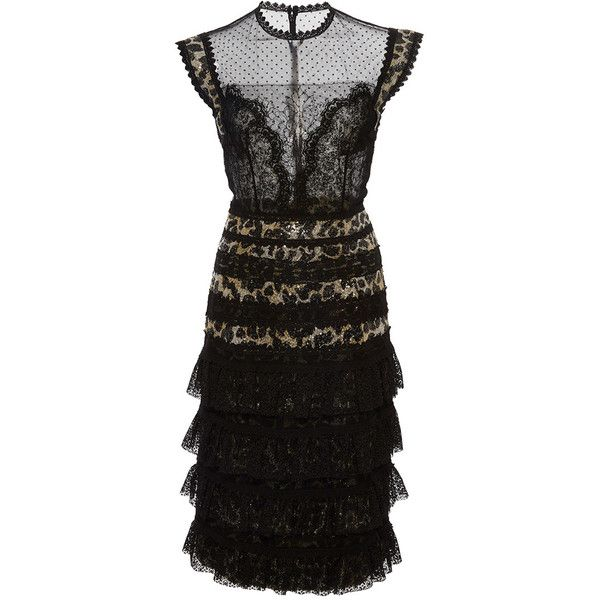 Costarellos     Animal Print Sequin Dot Tulle Dress ($1,795) ❤ liked on Polyvore…