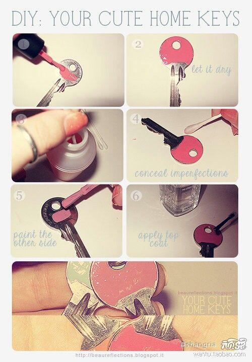 Sleutels pimpen met nagellak en zo verlies je nooit je huis,fietssleutel;)