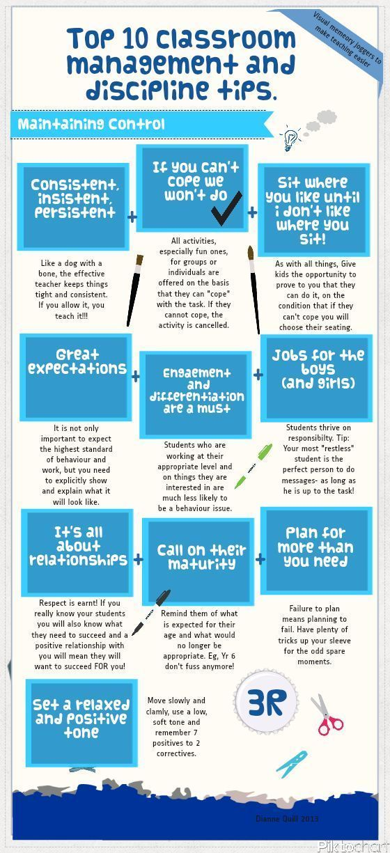 """Top 10 Classroom Management and Discipline Tips"" Infographic"