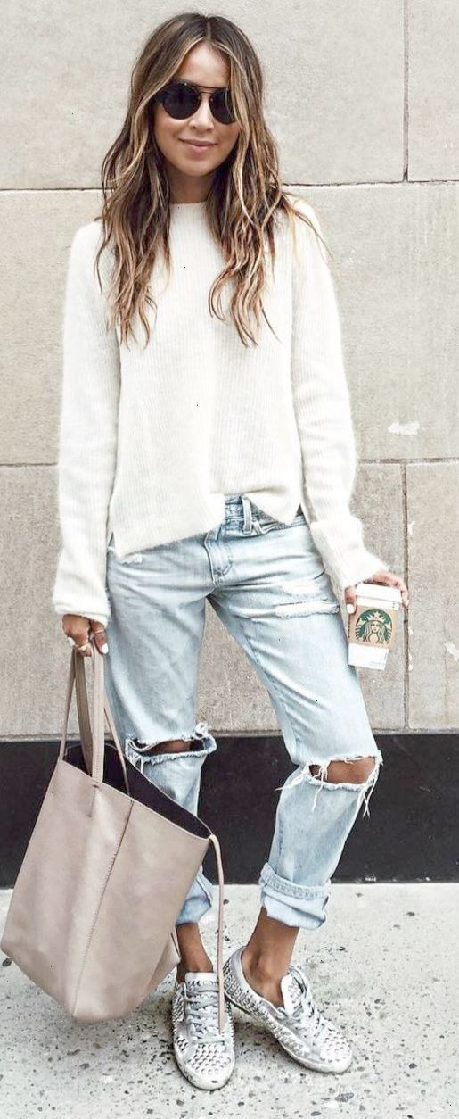 23c8baa2a440 casual style addiction   white sweater + ripped jeans + nude bag + sneakers