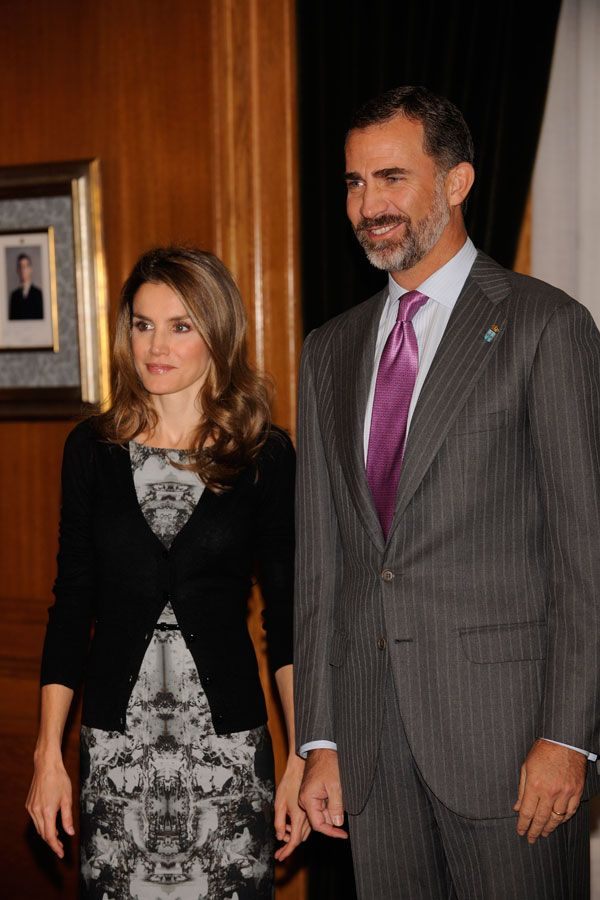 HRH Crown Prince Felipe and Letizia of Spain visit Oviedo 10/24/2013
