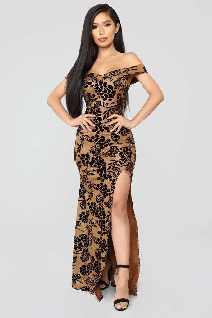 dccf7d9cb868 Roselyn Off Shoulder Floral Dress - Gold