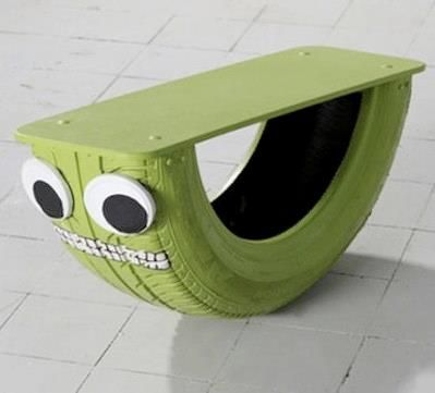 Neumático reciclado para los juegos infantiles