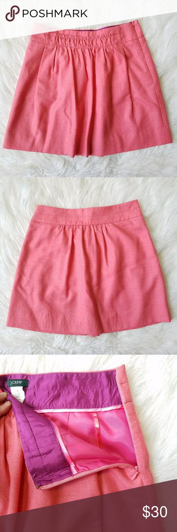 """J. Crew Shirred Wool A-Line Skirt J. Crew. Women's 0. Color: Pink / Coral Shirred ruffle front. Side zip. Front pockets.  97% Wool. 3% Elastane. Fully lined. Excellent condition! Waist- 14"""" Length- 17"""" J. Crew Skirts"""