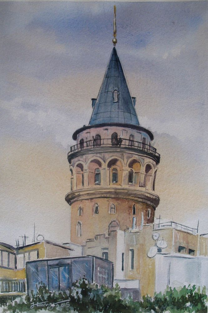 Galata Tower - Istanbul, Watercolor , 2000-Now, 26* 33cm, Europe #Impressionism