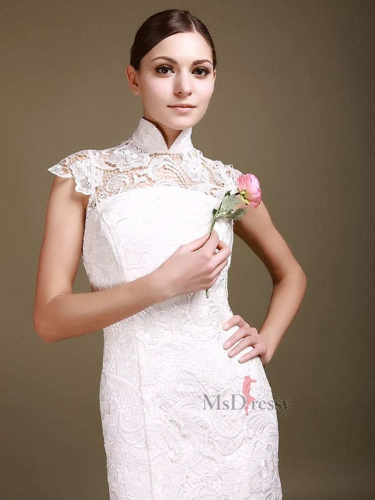 Trumpet mermaid high neck lace floor length white backless for High neck backless wedding dress