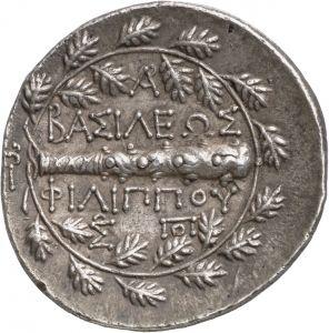 Tetraracma - argento - Macedonia (222-179 a.C.) - verso: ΒΑΣΙΛΕΩΣ / ΦΙΛΙΠΠΟΥ e mazza circondata da corona di foglie di quercia -Münzkabinett der Staatlichen Museen Berlin