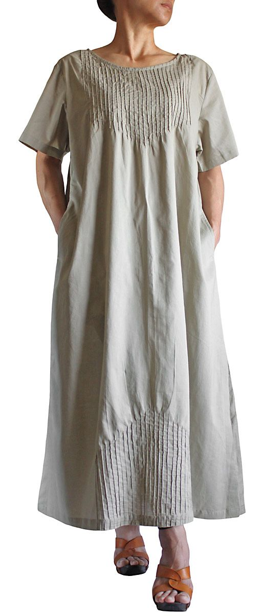 Fascinating mirror-image pintucks, top and bottom, on this simple dress from sawan ; DCG-017-03