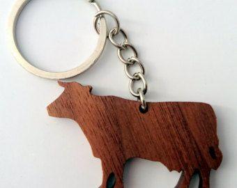 Wooden Wolf Keychain Walnut Wood Animal Keychain by PongiWorks