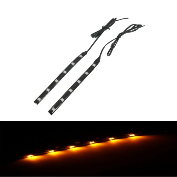 Par Moto Front Fork LED Tiras de luz de señal de giro Indicadores de faros Amber For Honda / Suzuki /