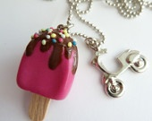 Popsicle Necklace - Polymer Clay fake Popsicle with chocolate and scooter Charm unique gifts for girls birthday favors party and holidays