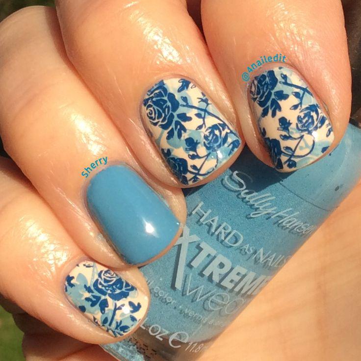 @4nailedit Nails floral stamping manicure polish Moyou London