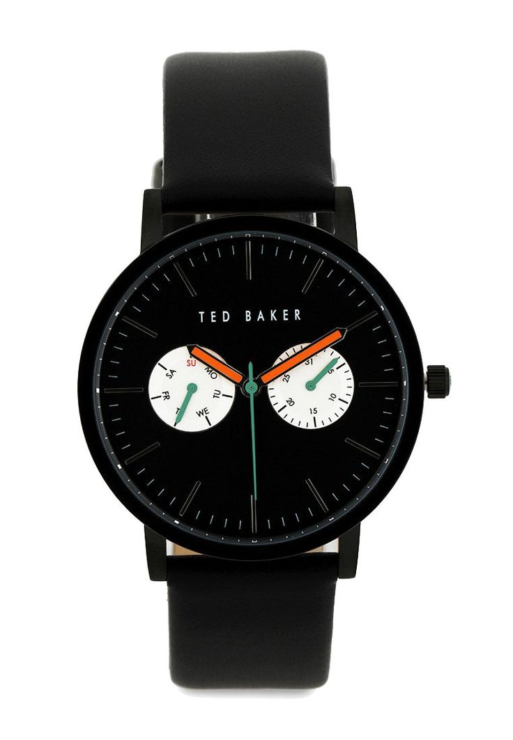 Simplicity never failed Men's TE1096 Smart Casual Round Watch by Ted Baker. Watch with chrono detail and asolid black color make this watch timeless. Black watch with round stainless steel case, leather strap, water resistant 50 m. Get it here
