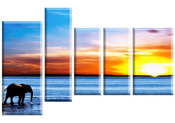 Tablou Elefant 4734 Dimensiuni: 2x 20x50 - 1x 20x70 - 1x 30x50 - 1x 30x70 Total: 120x80 cm