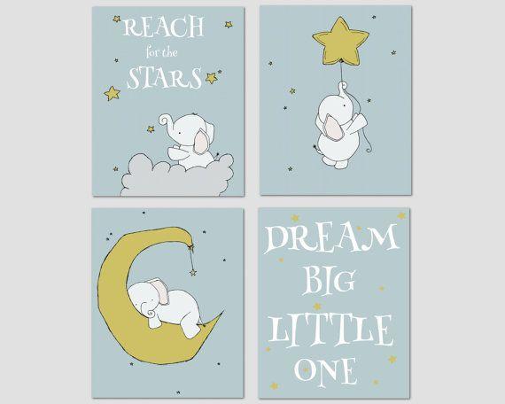 Éléphant pépinière Art    un ensemble de gravures déléphants dans le ciel de nuit, avec la lune et les étoiles, un rêveur ajout à votre