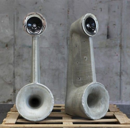 Concrete speakers are designed by Shmuel Linski as part of his graduation project from Shenkar College in Israel