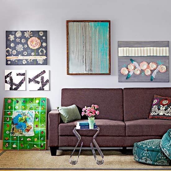 Art doesn't need to match your sofa, and it doesn't need to be centered above it, either.