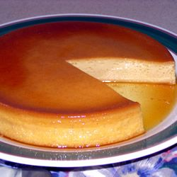 "SPANISH FLAN for a 9"" round pan ...  1 C white sugar.  3 eggs.  1 (14 oz) can sweetened condensed milk.  1 (12 fluid oz) can evaporated milk.  1 T vanilla extract.  Love this stuff! TOP-RATED recipe by 435 bakers at Allrecipes.com. Simple recipe but you'll want to read the various tips & techniques in the reviews from other bakers."