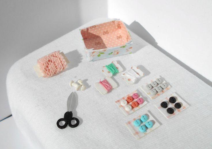Miniature sewing supplies, scissors, buttons, thread