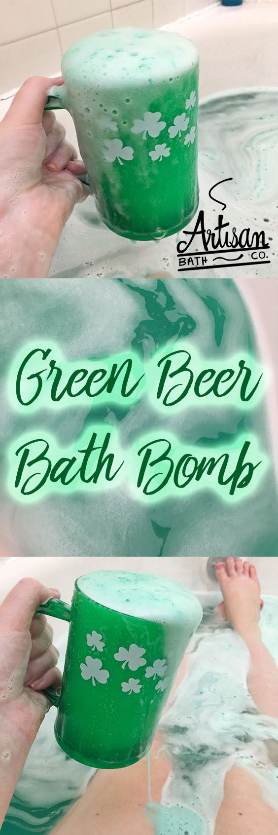 10 oz Green Beer Bath Bomb available in 3 scents: beer, cardamom mocha, and fresh mint. St Patrick's Day, st patricks day bath bomb, bath fizzy, holiday, theme, shamrock, artisan bath co, unique gift, man gift, festive, st. pattys, lucky, leprechaun, three leaf clover, cup, mug,