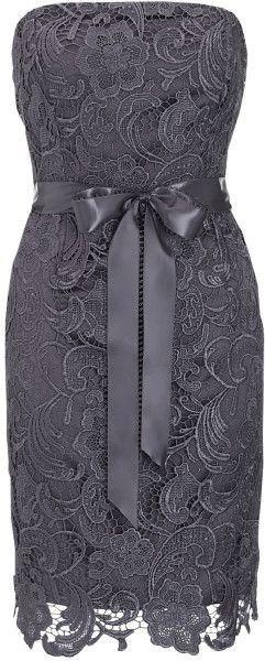 Strapless grey lace dress