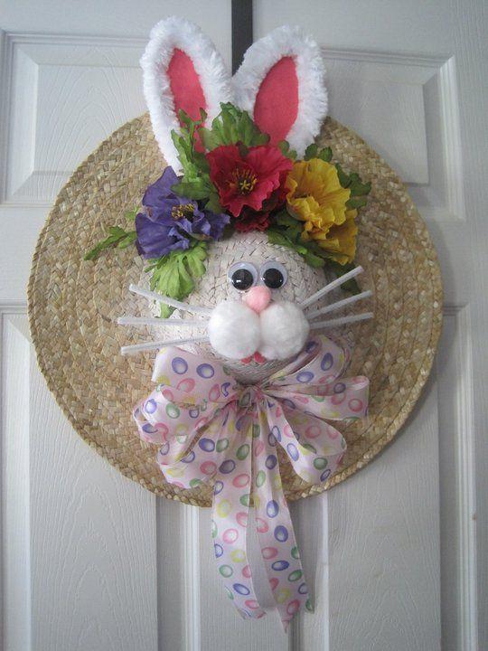 Easter Hat Wreath/guirlanda com chapéu de palha