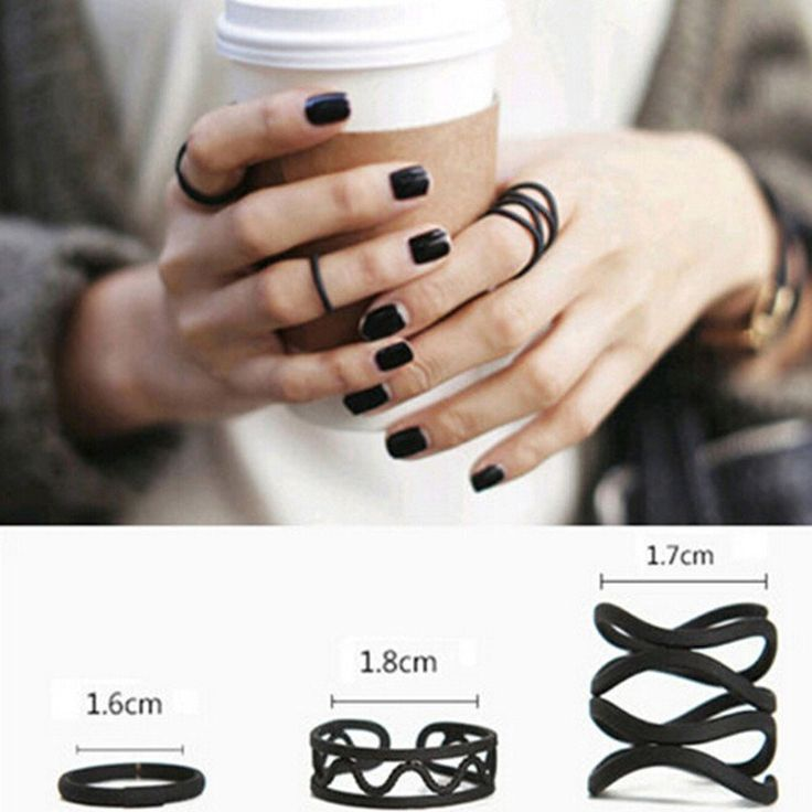 3Pcs Punk Multilayer Hollow Cross Midi Finger Tip Rings Female Black Stack Plain Above Knuckle Ring Set
