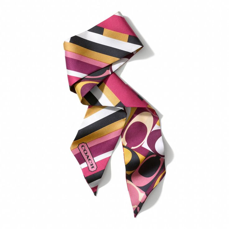 The Geometric Colorblock Signature Ponytail Scarf from Coach