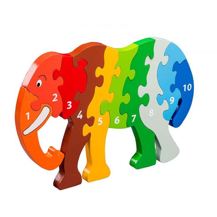 Wooden Jumbo Elephant Number Jigsaw
