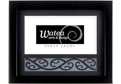 Black Photo Frame with Kowhaiwhai - Watea | Shop New Zealand