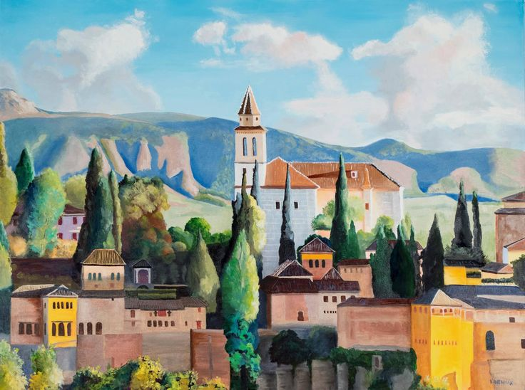 The Alhambra, Granada, Spain | From a unique collection of landscape paintings at https://www.1stdibs.com/art/paintings/landscape-paintings/