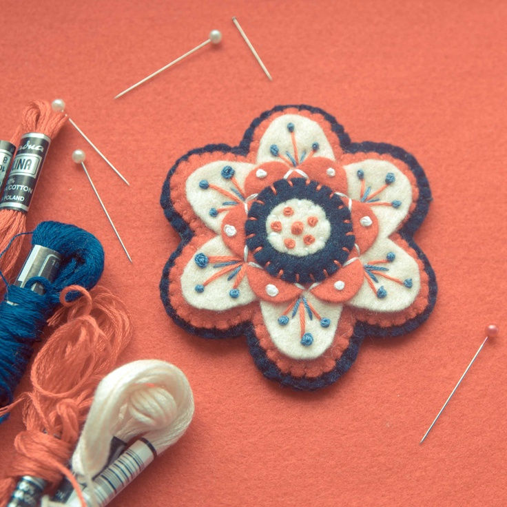 Handmade by Martha Stark tags: #handmade #marthastark #brooch made of #felt #decoration #rekodzielo #bead #thread #red #white #navy #blue