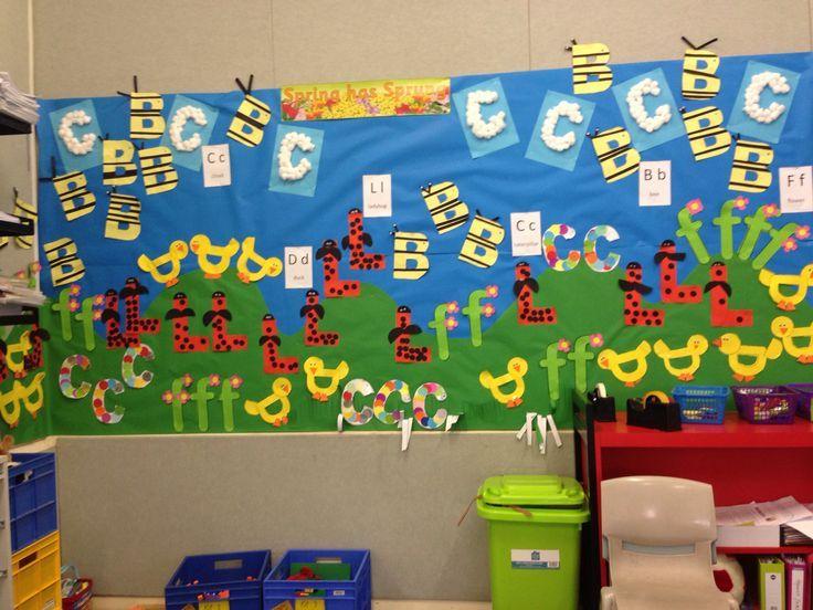 Letter Art display mural - Spring has Sprung - Kindergarten / Foundation - teaching ideas - bulletin board - letter craft- duck - bee- caterpillar - cloud - ladybird