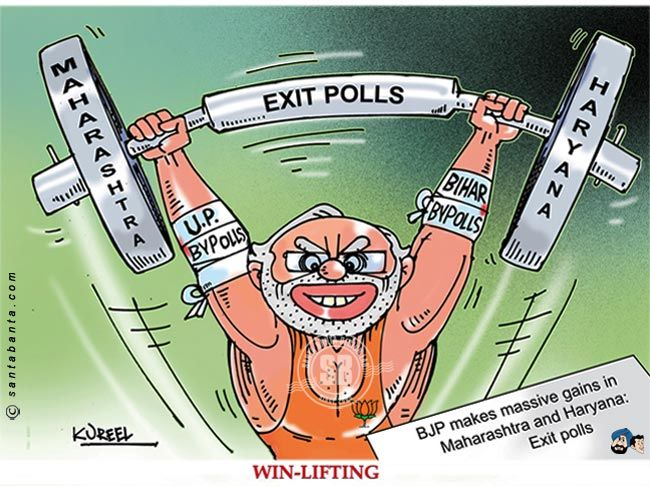 The BJP is set to do well in the Assembly elections in Maharashtra and Haryana, proving that the national seems to have beaten the local or the regional, according to exit poll projections.